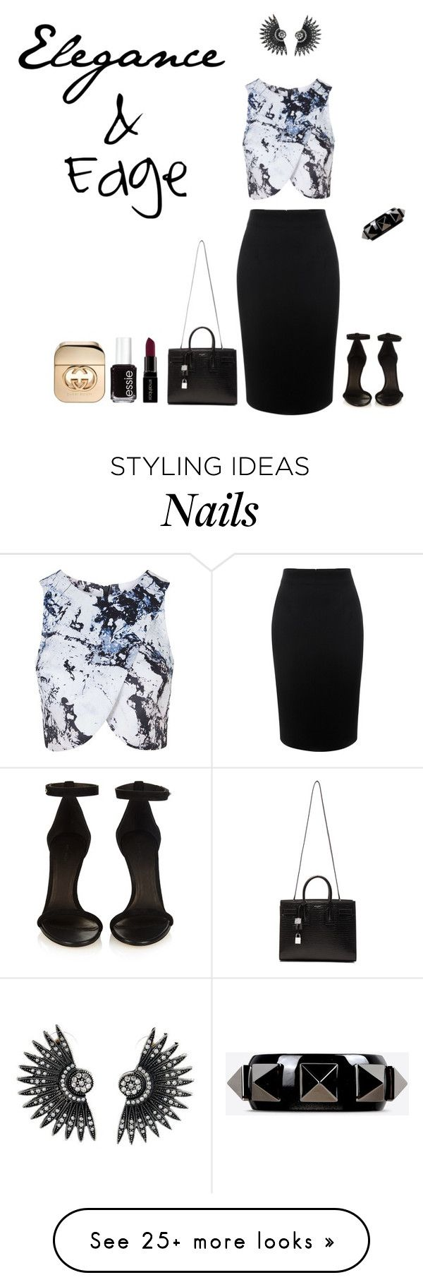 """Untitled #585"" by mrsmaggiemay on Polyvore featuring Alexander McQueen, Topshop, Yves Saint Laurent, Isabel Marant, Valentino, Smashbox, Essie, Gucci, women's clothing and women's fashion"