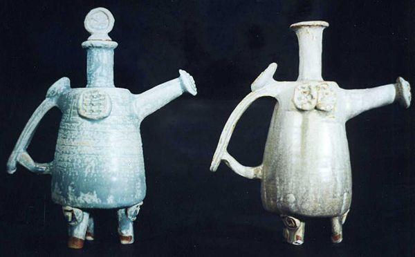 Early 1990s sake bottles, stoneware.