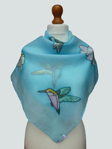 Hand painted hummingbirds silk scarf