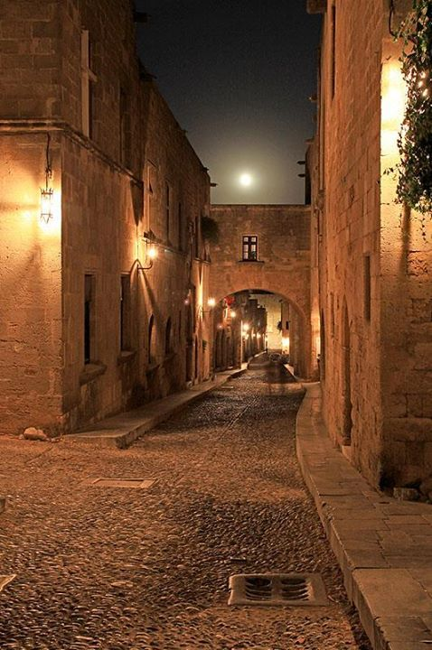 Full Moon Over The Street of the Knights,Old Town,Rhodes
