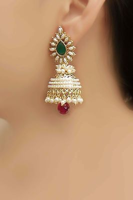 Glowing Ethnic Bollywood Design Classical Jhumki Polki Earring Indian Jewellery | Jewelry & Watches, Ethnic, Regional & Tribal, Asian & East Indian | eBay!