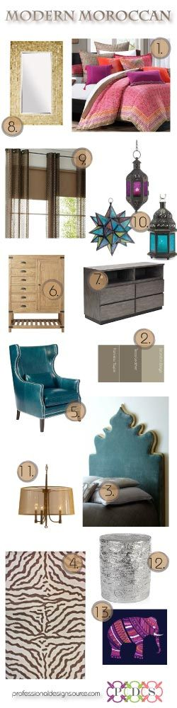 I really like the teal chair and headboard.