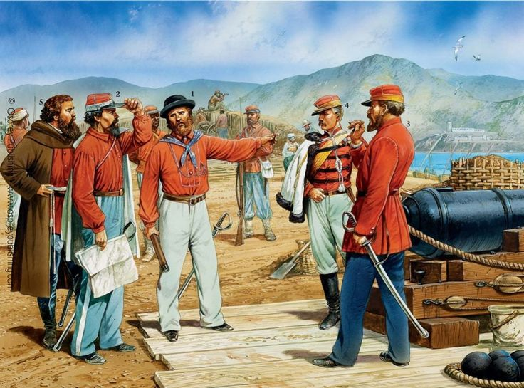 Garibaldi and his officers in the Strait of Messina, which crossed into Calabria and Naples later in 1860.