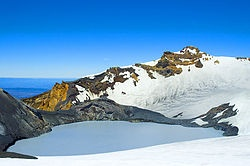 Mount Ruapehu is a very active volcano! What the heck. No one told me this before I signed up for ski trip numero dos next month! Earthquakes on the first trip and now volcanoes! Extreme skiing.