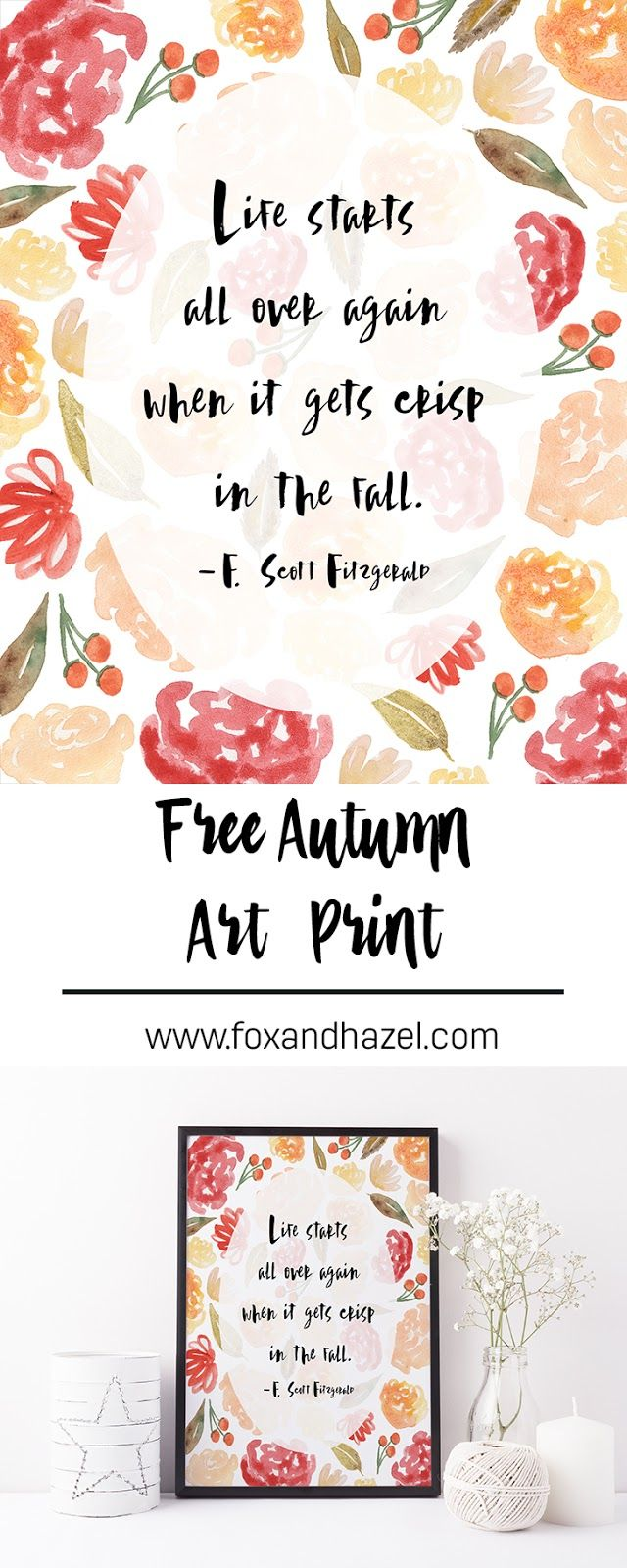 Fox & Hazel - Free Autumn Art Print