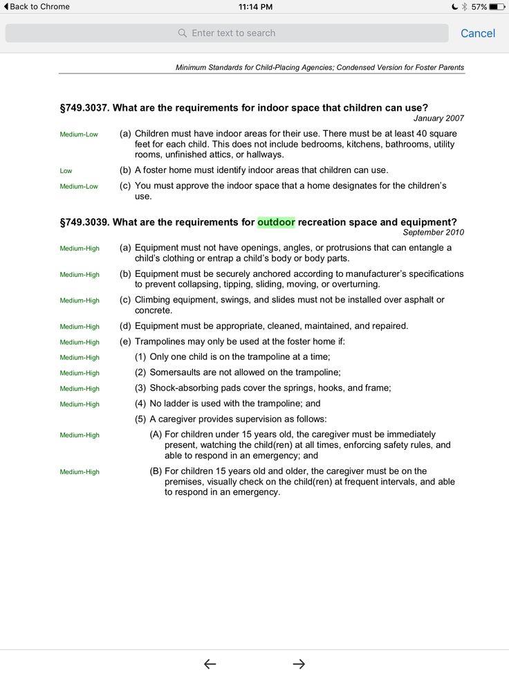 Minimum standards for outdoor equipmentTexas foster care