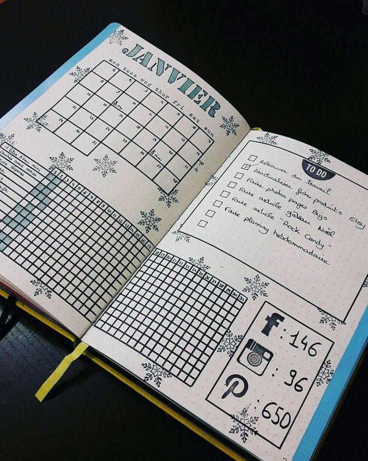 Bullet journal.  Nouvelle présentation pour mon monthly de janvier.