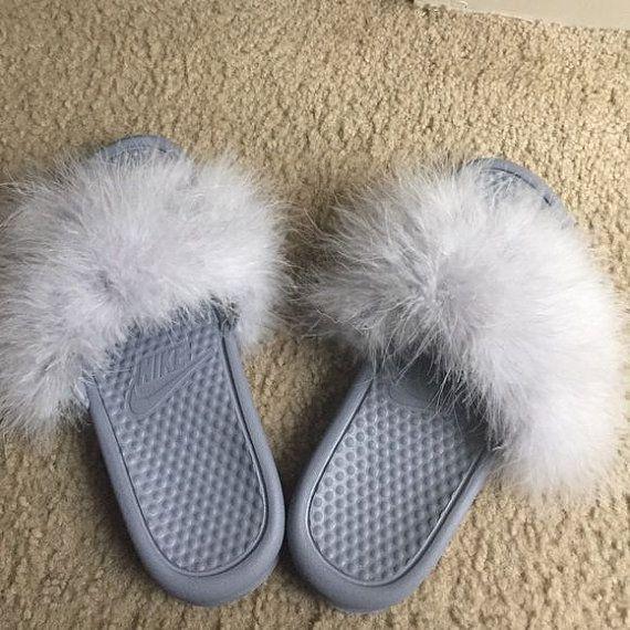 Grey Fur Nike Slides any color fur by Designsbykaemiyan on Etsy