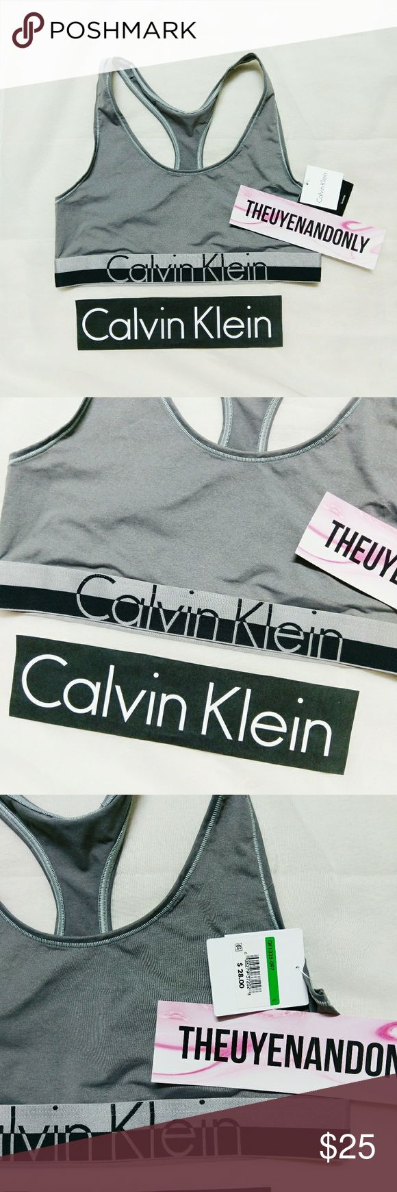 (L) NWT CK Calvin Klein Bralette Gray NEW WITH TAG  NO TRADE  FREE SHIPPING is available. Please contact Calvin Klein Tops