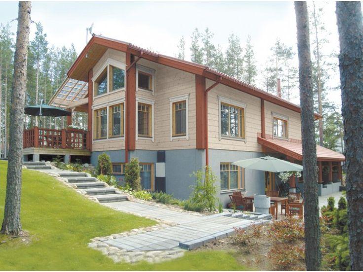Filia - #Einfamilienhaus von Honka Blockhaus GmbH | HausXXL #Blockhaus #Landhausstil #Satteldach