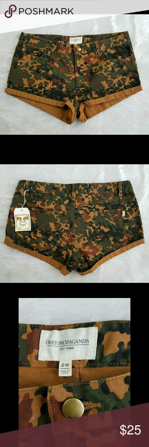 Obey Propaganda Camouflage Shorts NWT no flaws or stains. Reasonable offers accepted, bundles discounted. lowballers will immediately be declined. No trades. I can ship same or next day. Obey Shorts Jean Shorts