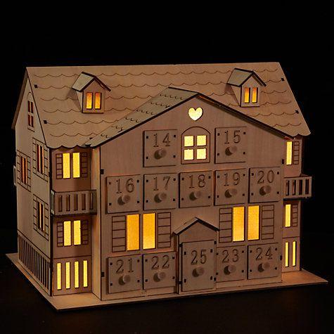 Buy John Lewis Led Wooden Advent House Online at johnlewis.com
