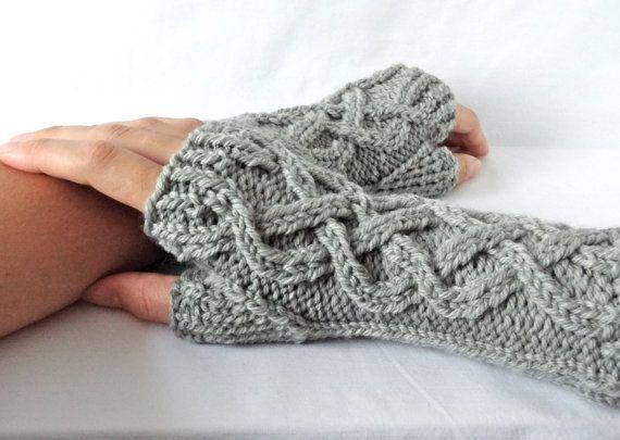 Celtic Cable Knit Fingerless Gloves Custom by HanksAndNeedles
