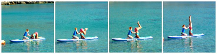 Performing a headstand with Nefeli Stamouli at Loutraki beach, Chania Crete on our Mistral boards.  http://paddleboardyoga.net/