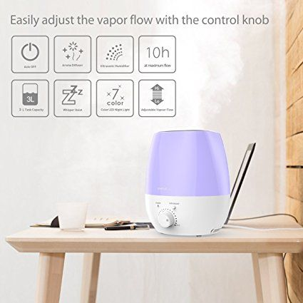 Amazon.com: SimpleTaste 3L(0.79 Gal) Ultrasonic Cool Mist Humidifier Aromatherapy Aroma Essential Oil Diffuser with 7 Colors LED Whisper-Quiet: Baby