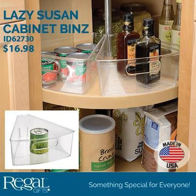 LAZY SUSAN CABINET BINZ™ Wedge shaped design to fit your lazy susan cupboard for ultimate organization. Built-in handles so they are easy to remove. Buy eight units to create a full circle. Made of durable Resipreme®.