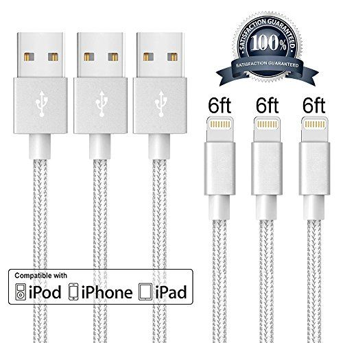 iPhone CableJUGGLO Lightning Cable 3Pack 6FT Nylon Braided Cord to USB Charging Charger for iPadiPod Nano 7iPhone 7/7 Plus6/6 Plus/6S/6S PlusSE/5S/5 (Gray&White6FT)
