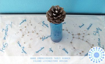 Hand-Embroidered Constellation Table Runner by Island Livingstore eclectic-tablecloths