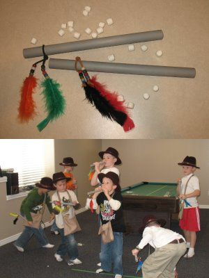 Indiana Jones party - blow guns, hats, satchels, Top Secret pinata