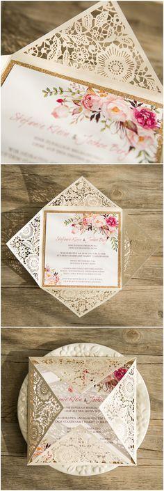 "glittery pink and gold elegant floral bohemian laser cut wedding invitations @elegantwinvites -use CODE ""PRO"" to enjoy 15% off"