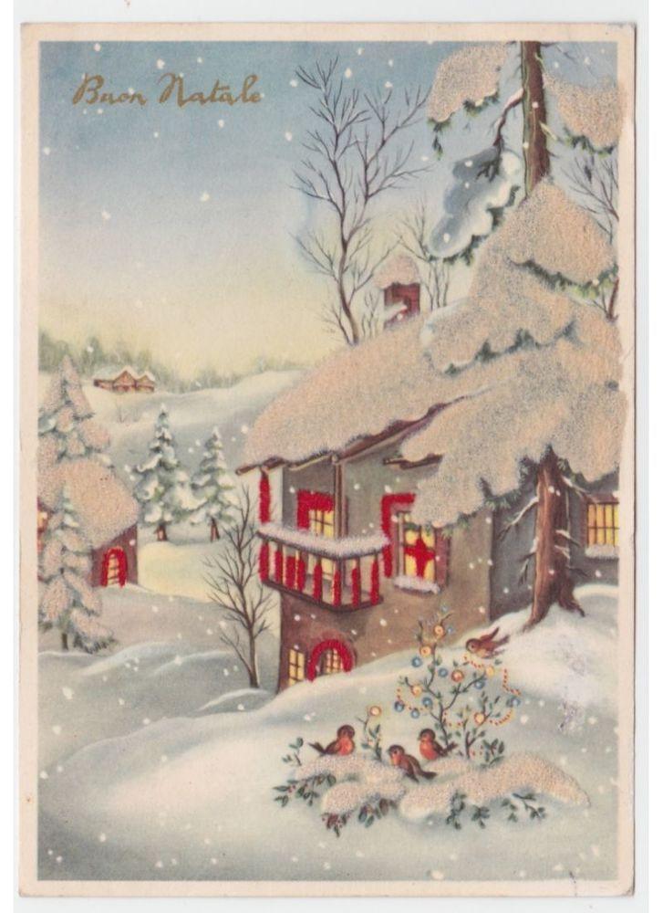 Cartoline Di Natale Anni 70.Natale Cartolina Con Tessuto A Rilievo Effetto Neve Baita Di