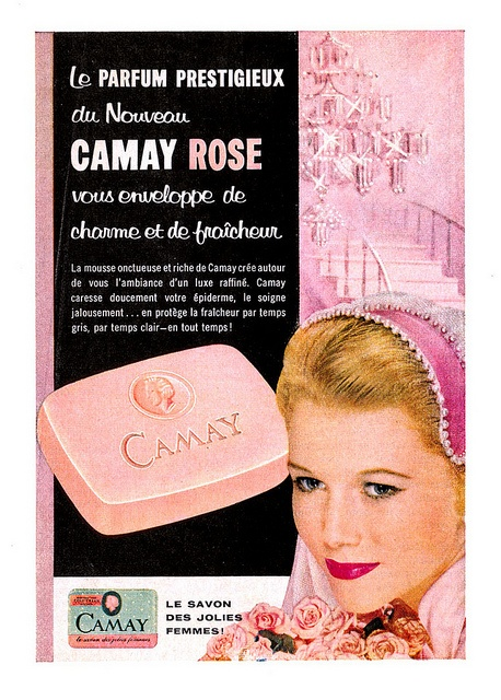 A lovely pink-hued ad for Camay Soap (1958) - A pretty scented soap is perfect for every lady!