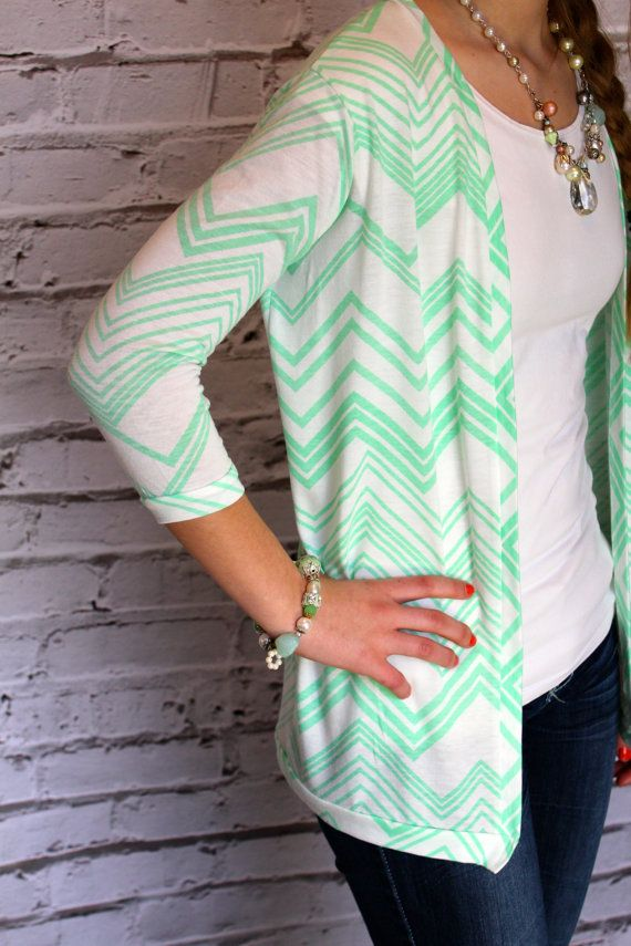 Mint Green and White Chevron 3/4 Sleeve Cardigan by Gogreenstyle, $46.00
