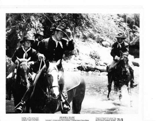 Rio Lobo    While John Wayne was filming Rio Lobo (1970) he was awarded the Best Actor Oscar for True Grit (1969).  When he returned to the Rio Lobo set after the ceremony, the entire cast was outfitted with eye patches, including his horse.
