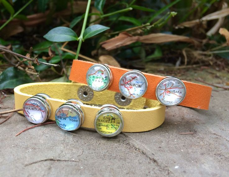Leon - Orange leather travel bracelet