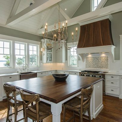 I love the beams! And large Island! Of course, white cabinets! Benjamin Moore Horizon Gray