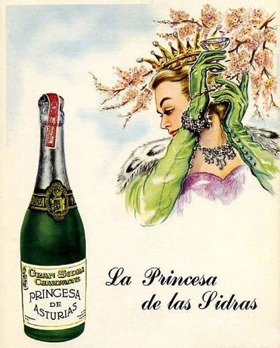 Antiguo anuncio de la sidra champagne PRINCESA DE ASTURIAS, de Colloto, propiedad de los mismos dueños que la desaparecida cerveza de El Águila Negra