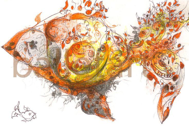 Yellow goldfish - art print yellow artwork hand drawing interior design wall decor illustration painting