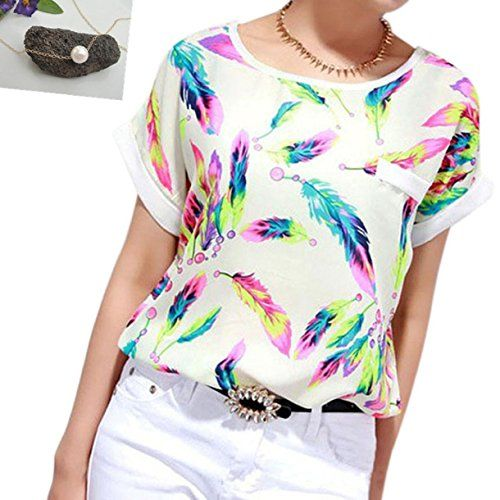 Lookatool Women's Feathers Chiffon Blouse Top Casual Shor...