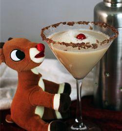RUDOLPH MARTINI 1 oz Vodka 1 oz Creme de Cocoa 1 oz Irish Cream 1 oz Butterscotch Schnapps Garnish with whipped cream and a cherry