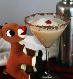 RUDOLPH MARTINI 1 oz Vodka 1 oz Creme de Cocoa 1 oz Irish Cream 1 oz Butterscotch Schnapps Garnish with whipped cream and a cherry
