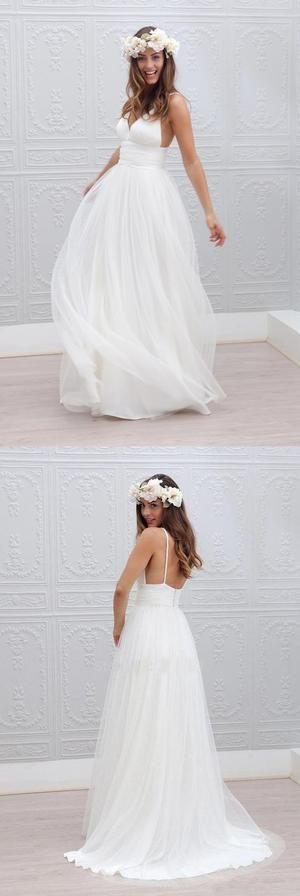 Simple Design Sheath Spaghetti V-neck White Tulle Wedding Party Dresses, WD0088