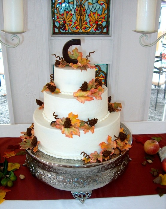 almond pound wedding cake recipe autumn wedding cake with a chocolate quot c quot leaves and other 10680