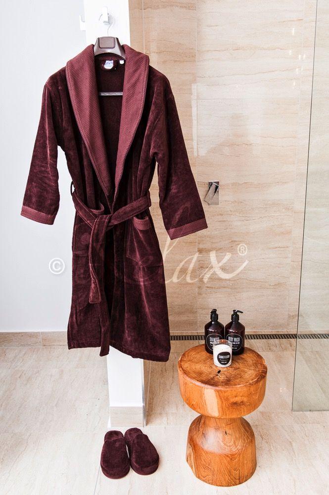 Chocolate Bathrobe with Slippers #VelourBathrobe #FluffySlippers #LuxuriousBathrobe #BespokeBathSet #iRelaxAU #ForHim #ForHer