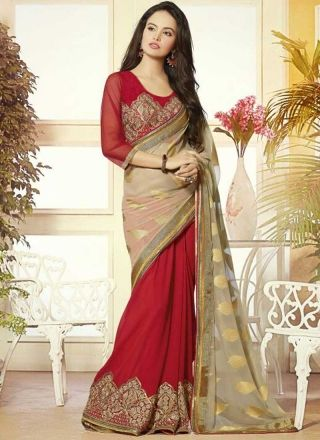 Red Beige Embroidery Work Georgette Jacquard Half Designer Party Wear Sarees…