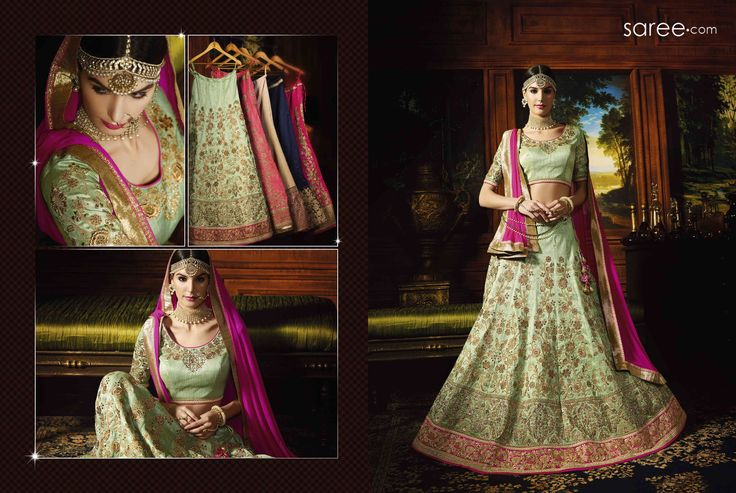 GREEN SILK LEHENGA CHOLI WITH EMBROIDERY WORK