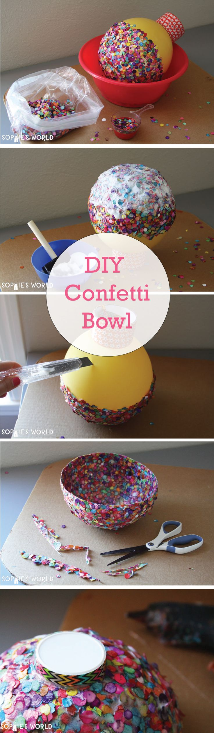 DIY Confetti Bowl #sophies #world #diy #confetti #craft #crafts #decor http://sophie-world.com/crafts/confetti-bowl
