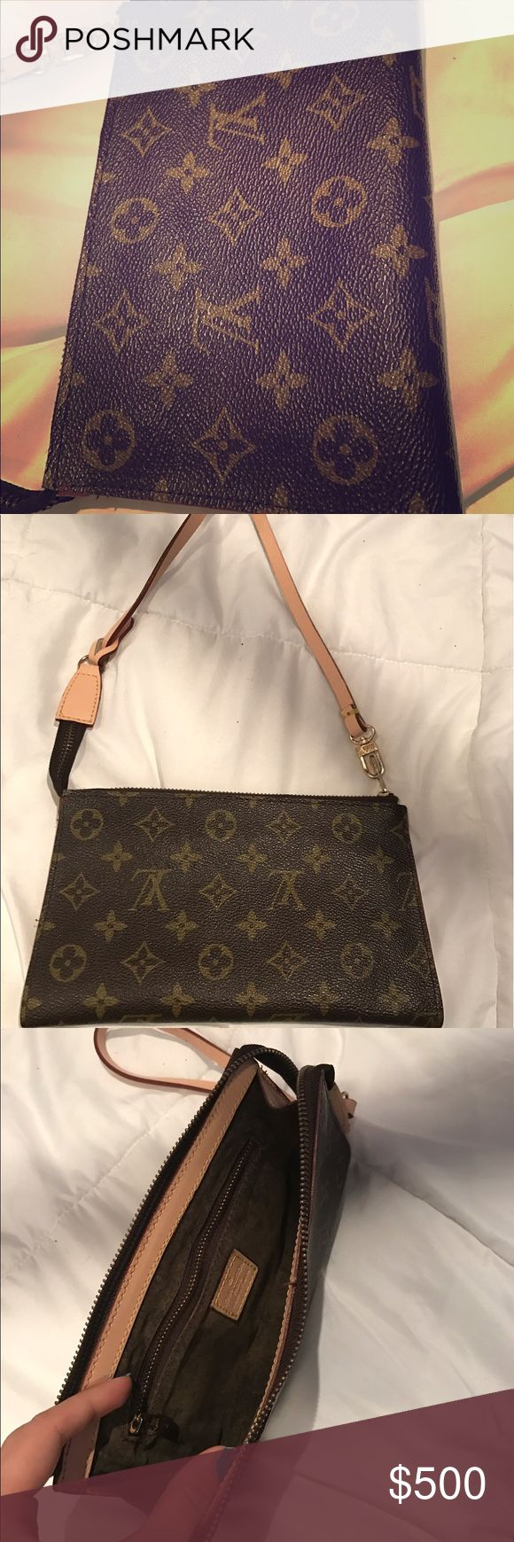Authentic Louis Vouitton Paris clutch/wristlet Beautiful mini purse can be used as clutch or wristlet. Only used a couple times. Was a gift. Selling because I'm not crazy about Louis Vuitton. But this is a beautiful bag in great condition! I am accepting reasonable offers. NEED GONE! Thanks Louis Vuitton Bags Clutches & Wristlets