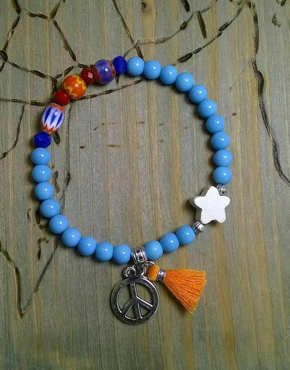 Armband  blau/ bunt Bettelarmband  Peace