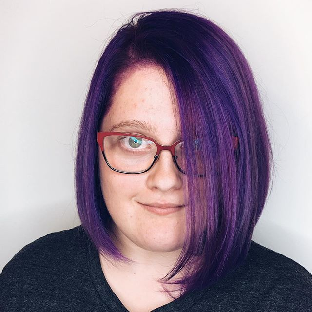 Purple passion ☂️☮️ Honored to be part of this little lady's hair adventures! #purple #hairinspo #jeweltones #haircolor #vividhair #fantasyhair #fall #hairpainting #instadfw #dallasbalayage #dallashair #dallasstyle #dallasstylist #dallascolorist #haircut #hairstyle #hairnerd #hairbrained #behindthechair #modernsalon #hairinspo #bookwithbrandi #uptown #oaklawn