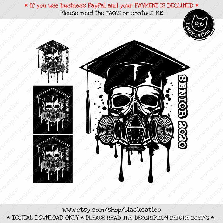 Skull in Academic cap svg Class of 2020 Senior Distress