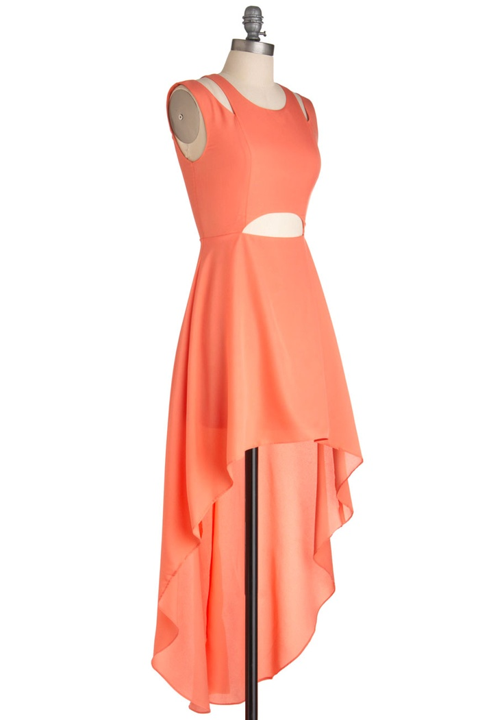 You Guava Know Dress - Short, Orange, Solid, Cutout, Party, Maxi, Sleeveless, Summer, High-Low Hem, Statement