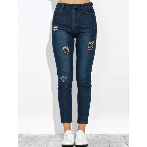 Al por Mayor 30 Marina de Guerra Pantalon Jeans Cintura Alta Parchado Compra Pantalones Barato en Línea.