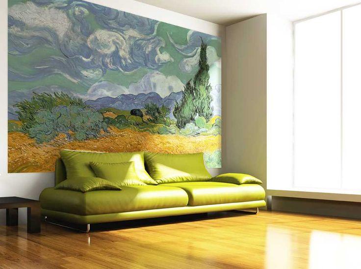 Carta da Parati Arte da Parati Campo di grano con cipressi, Vincent Van Gogh. Dona personalità alle tue pareti, Acquista Adesso su MyCollection.it