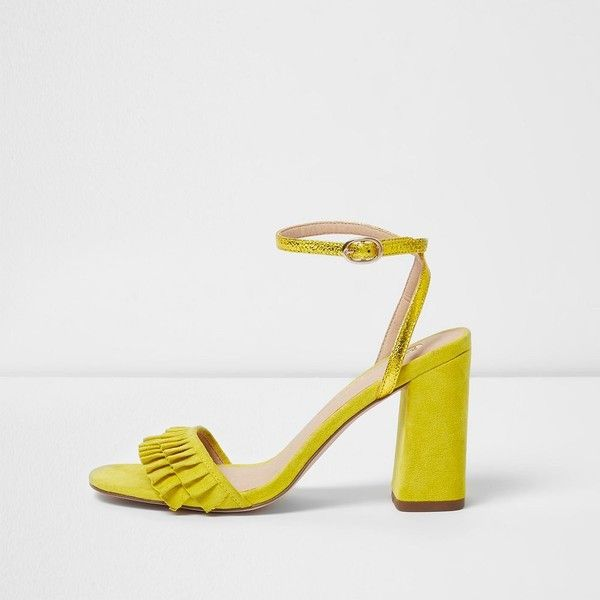 River Island Yellow frill strap block heel sandals ($90) ❤ liked on Polyvore featuring shoes, sandals, yellow, block-heel sandals, strappy high heel sandals, high heel sandals, strappy heeled sandals and yellow sandals