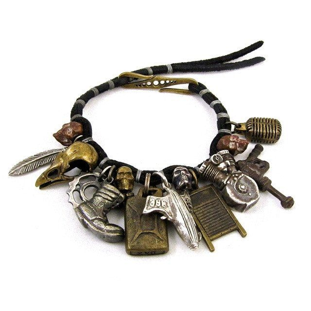 Custom Designer Mens Charm Bracelet in Rock Star Mixed Metals by Dax Savage Jewelry.